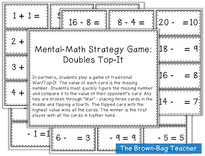 Free Mental Math Centers - The Brown Bag Teacher