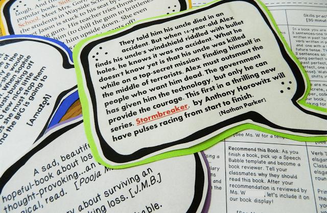 Book Report Alternative: Book Blurbs
