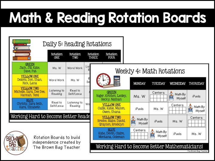 Reading and Math Rotation Boards - The Brown Bag Teacher