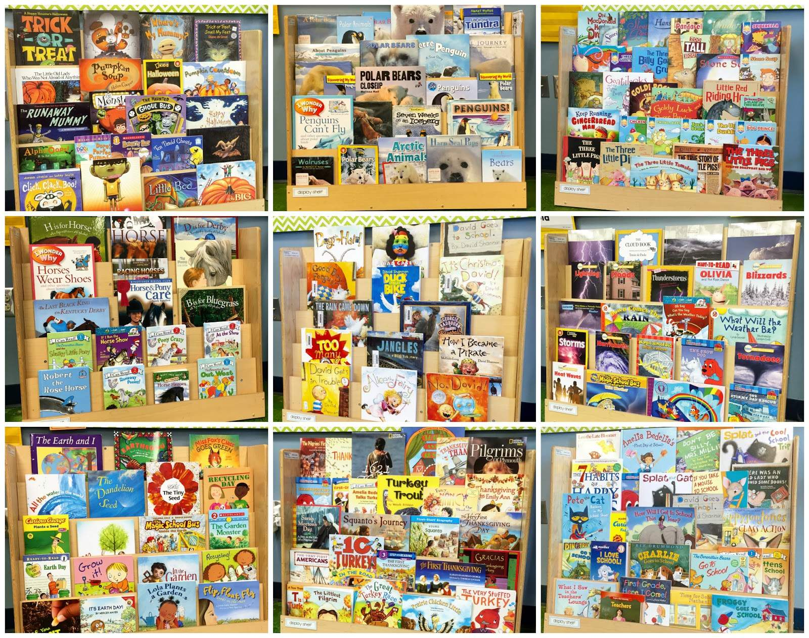Classroom Management Ideas For First Grade ~ Library book display shelf the brown bag teacher