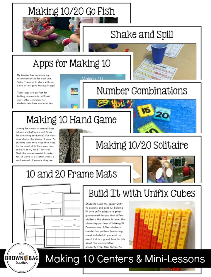 Making 10 Centers, Mini-Lessons, & Online Tools - The Brown Bag Teacher