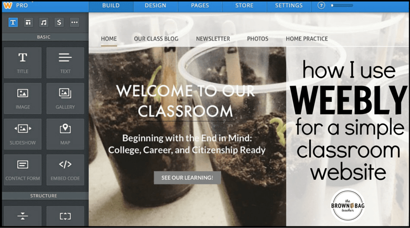 Creating a Classroom Website using Weebly - The Brown Bag Teacher