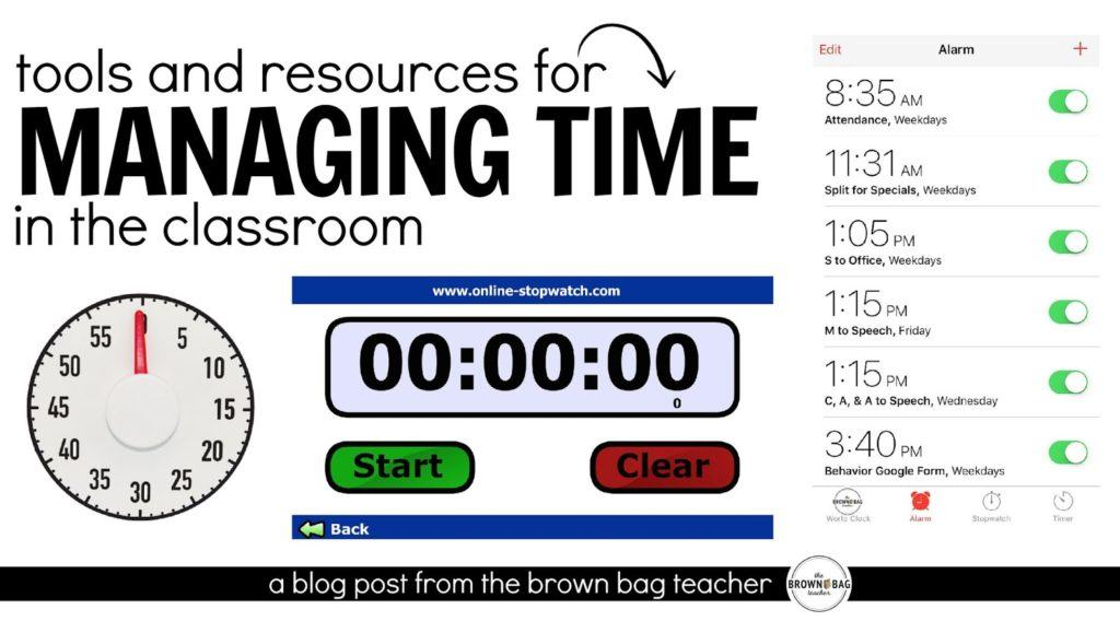 5 awesome ideas for managing time in the classroom! I especially love the iPhone alarm idea.